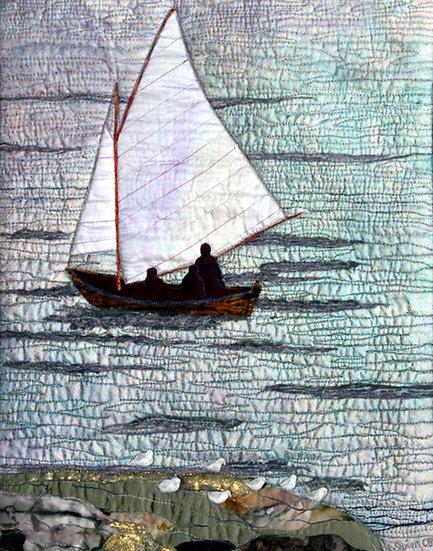 1004 Dory Under Sail at Sunset