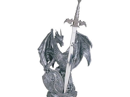 Silver Dragon with Sword