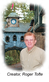 Roger Tofte in front of English VIllage tower