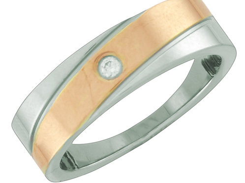 Ring, Silver and Bronze Colored Band, Sized