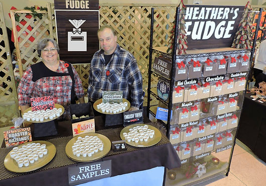 Heather's Fudge, Heather and Gary Wood selling fudge at the Davedi Club Chrismtas Artisan Show in North Bay, Ont. 2015