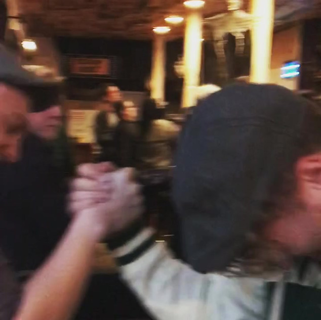 Arm wrestling at Feckin Brewery.MP4