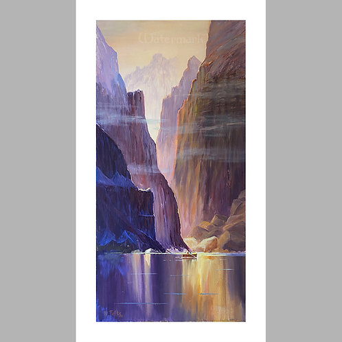 "9.44"" x 17"" Printed Copy of ""Fishing the Purple Gorge"" Painting by Roger Tofte"