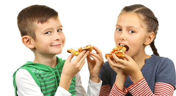 Two children eating pizza