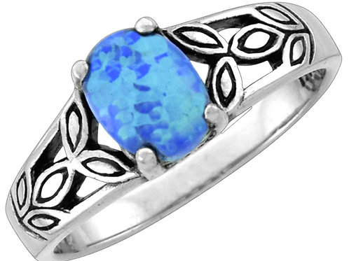 Blue Opal Ring, Oval with Leaf Band, Sized