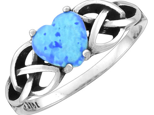 Blue Opal Ring, Heart with Weave Band, Sized
