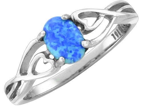 Blue Opal Ring, Oval with Heart Swirl Band, Sized