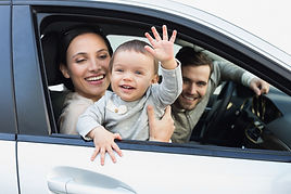 Family waiting in car