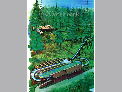 "Printed Copy of Log Ride Concept Art by Roger Tofte, Signed, 11"" x 16 3/4"""