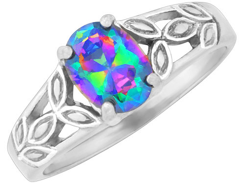 Ring with Multicolored Jewel and Leaf Band, Sized