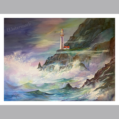 "Large Print of ""Lighthouse and the Sea"" by Roger Tofte"