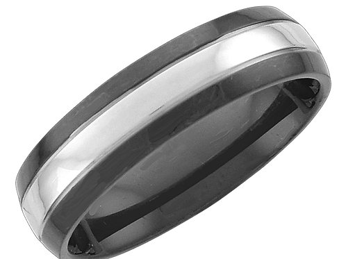 Ring with Black and Silver Band, Sized