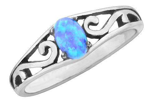 Blue Opal Ring, Oval with Swirl Band, Sized