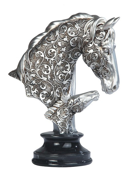 Decorative Silver Horse Head Bust