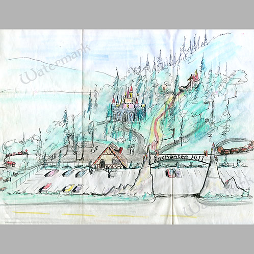 """11"""" x 14"""" Printed Copy of Original Enchanted Forest Concept Art by Roger Tofte"""