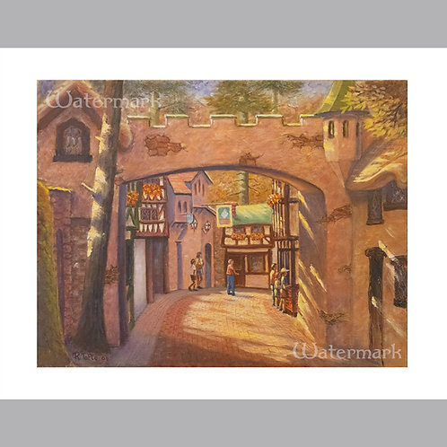 Printed Copy of English Village Archway Painting by Roger Tofte