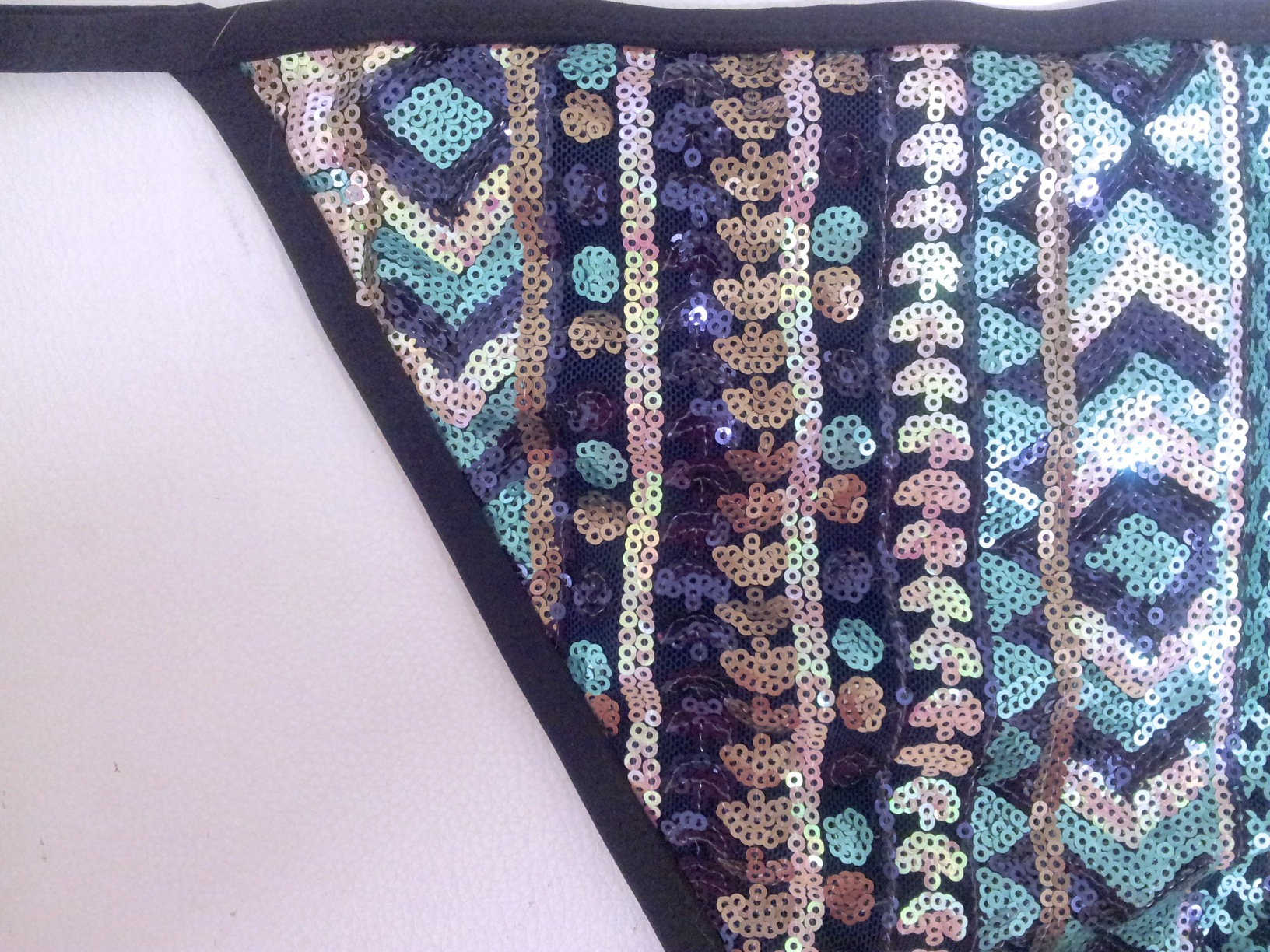 Green Sequins Black Binding