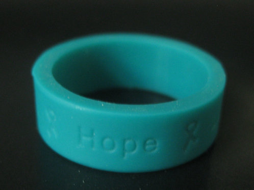 """Teal Silicone """"HOPE"""" Ring"""
