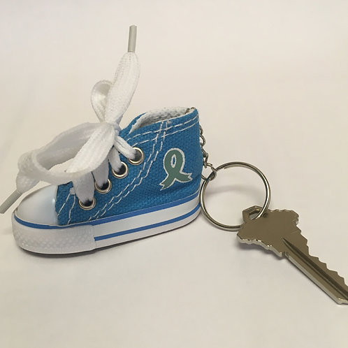 Teal Ribbon Sneaker Key Chain