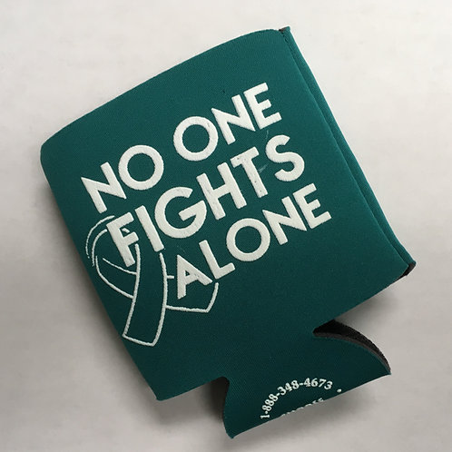 "Teal Beverage Holder ""No One Fights Alone"""
