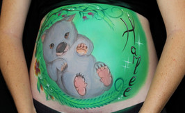 Baby wombat belly painting inspired by the Australian Bush Babies series by Elise Martinson