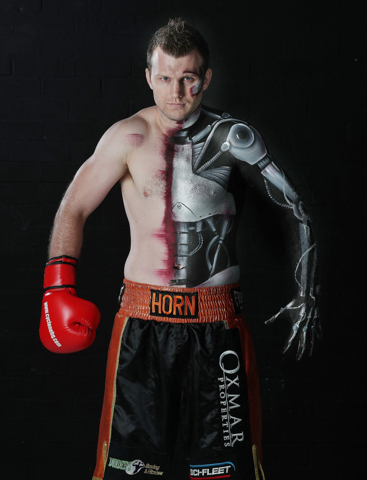 Boxer Jeff Horn body painted by Brisbane artist Beth Joyce.