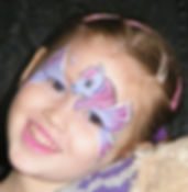 Cute little puple winged pony face painting design