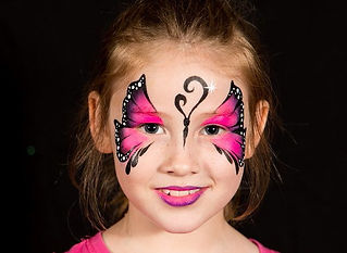Simple pink and black face paint design. Learn to paint this design in a beginner face painting class with Beth Joyce.
