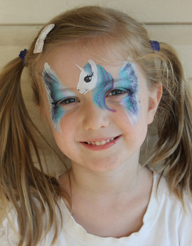 Pretty blue winged unicorn face painting