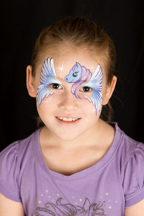 Winged pony face painting by Beth Joyce