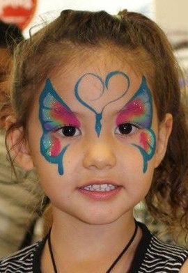 Colourful rainbow butterfly face paint by Brisbane face painter Beth Joyce