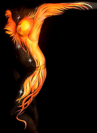 Phoenix rising from the ashes in shades of red, orange and yellow, painted by Brisbane body painter Beth Joyce.
