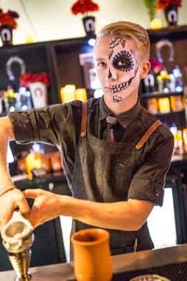 Fabulous Sugar skull face paint design painted at Blackbird Bar and Grill for their Day of the Dead event