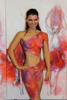 This beautiful model was painted in sari inspired drapey fabric to compliment Di Taylor's art exhibition