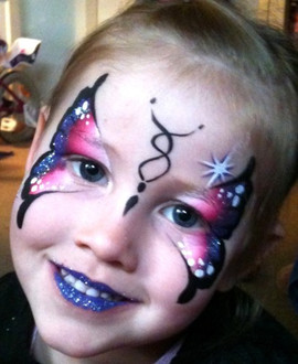 Stunning pink and purple butterfly face painting design