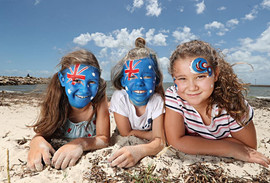 Australian flag face painting for the Brisbane Courier Mail and Sunday Mail
