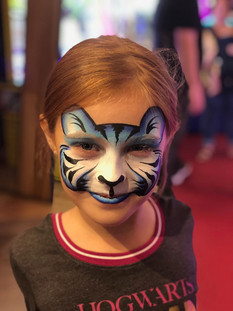 Blue and white tiger cub face paint mask