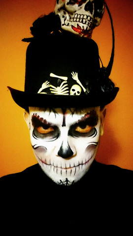 Classic black and white voodoo witch doctor face painting