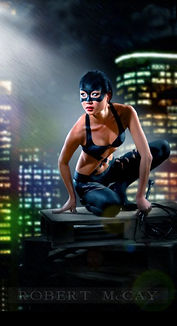 Cat Woman body painting, painted clothing and mask
