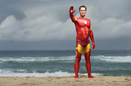 Shannon Eckstein painted as Iron Man by Brisbane Body Painter Beth Joyce
