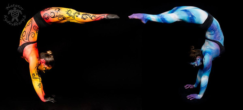 Fire and Ice, body painted acrobat by Brisbane artist Beth Joyce.
