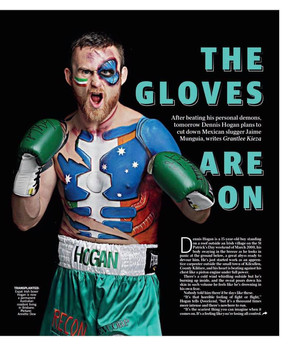 Boxer Dennis Hogan body painted by Beth Joyce for the Brisbane Courier Mail.
