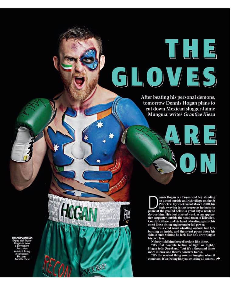 Boxer Dennis Hogan painted by Beth Joyce for the Brisbane Courier Mail.