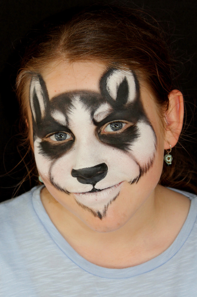 Husky face paint design originally created for the Brisbane Dog Lovers show.