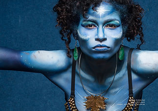Galactic female warrior body painted in shades of blue by Brisbane body painter Beth Joyce