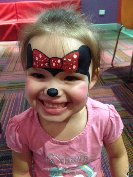Cute as a button Minnie Mouse inspired face painting design
