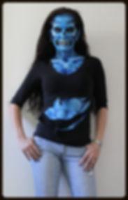 Blue skeleton monster face and body painting