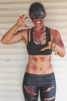 Zombie catwoman body painting using special effects