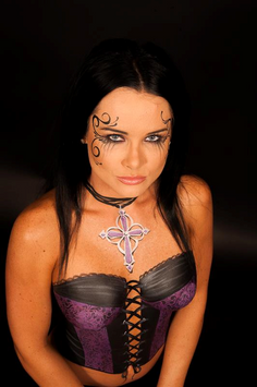 Body painting of a  purple and black corset with gothic style painted necklace.