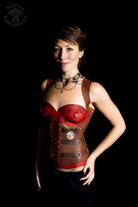 Steampunk inspired painted red corset with painted leather details by Brisbane body painter Beth Joyce